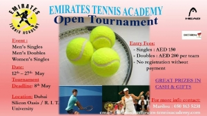 Join the Open Tournament of Emirates Tennis Academy in Dubai Silicon Oasis on 12th-27th May 2017 onlyoneweekleft to submit your #08/05/2017's&womens's's