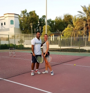 Tennis in Mirdif park evening classes Salman and private level welcome us@emirates-tennisacademy.com levels welcome