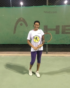 Congratulations Nancy women's circuit Al Sheihk to 2nd round win start luck vs seed n2 for it # hard work pays off tennis academy